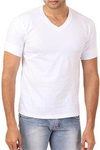 מארז שש חולצות טישירט יוניסקס HANES עם צווארון וי בצבע לבן