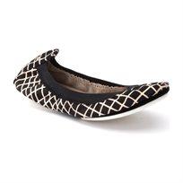 Yosi Samra Ballerina 343 - נעלי בלרינה שחורות בשילוב משבצות