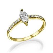 """טבעת יהלומים """"אלזה"""" 0.52 קראט זהב צהוב"""