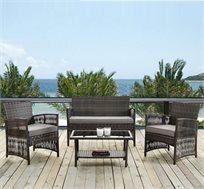 מערכת אירוח לגן או למרפסת דגם גולן כולל שולחן משולב זכוכית, זוג כורסאות וספה דו מושבית מבית Homax