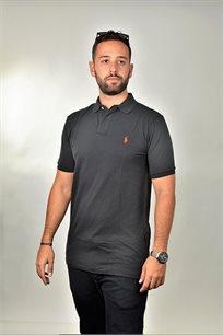חולצת פולו שחורה CUSTOM FIT לוגו אדום POLO RALPH LAUREN