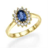 """טבעת אירוסין זהב צהוב """"הנסיכה דיאנה"""" העיצוב המקורי של הנסיכה"""