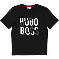BOSS בוס טישרט (16-6 שנים) שחור לוגו גדול