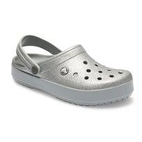 Crocs Crocband Glitter Clog - כפכף קלוג כסוף בעיטור נצנצים עם סוליית פלטפורמה מבריקה