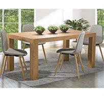 פינת אוכל כפרית מודרנית + 6 כסאות דמוי עור ביתילי מעץ בוק דגם בונטון