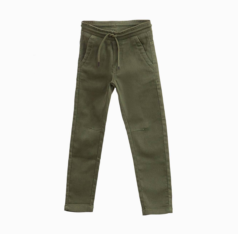 מכנסי דמוי ג'ינס OVS לילדים - ירוק זית עם שרוך