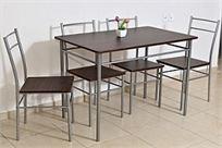 סט פינת אוכל הכולל שולחן איכותי ו-4 כסאות מעוצבים - שילוב קלאסי של מתכת איכותית ועץ!