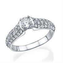 """טבעת אירוסין """"קיילה"""" זהב לבן 0.85 קראט"""