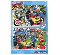 פאזל  דמויות מיקי מאוס וחברים במירוץ מכוניות  2X20 חלקים Clementoni