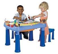 שולחן יצירה + 2 שרפרפים לאחסון כל כלי היצירה מבית ״כתר״ פלסטיק