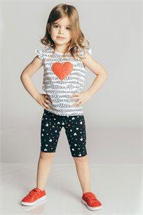 חולצת טריקו קצרה בהדפס לב לבנות Kiwi בצבע לבן
