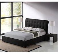 מיטה זוגית מרופדת GAROX בריפוד דמוי עור איכותי שחור - משלוח חינם