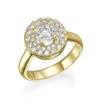 """טבעת יהלומים זהב צהוב """"ג'יין"""" 1.21 קראט בעיצוב פרח"""