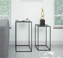 סט הכולל שני שולחנות מתכת דקורטיביים בעיצוב מודרני בצבע שחור מט דגם ונציה RAZCO
