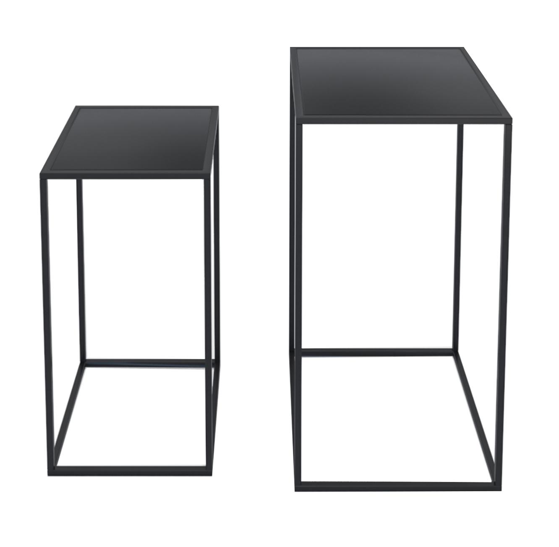 סט הכולל שני שולחנות מתכת דקורטיביים בעיצוב מודרני בצבע שחור מט דגם ונציה RAZCO - משלוח חינם - תמונה 2