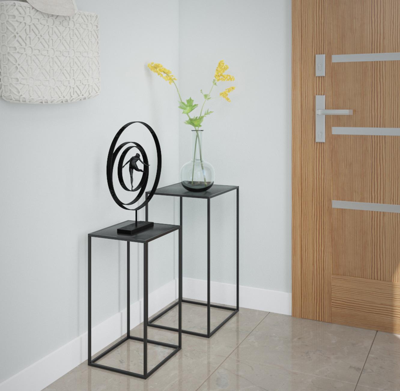 סט הכולל שני שולחנות מתכת דקורטיביים בעיצוב מודרני בצבע שחור מט דגם ונציה RAZCO - משלוח חינם - תמונה 3