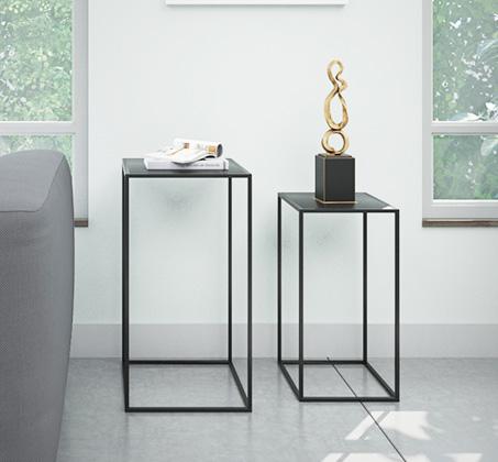 זוג שולחנות מתכת דקורטיביים בעיצוב מודרני דגם ונציה