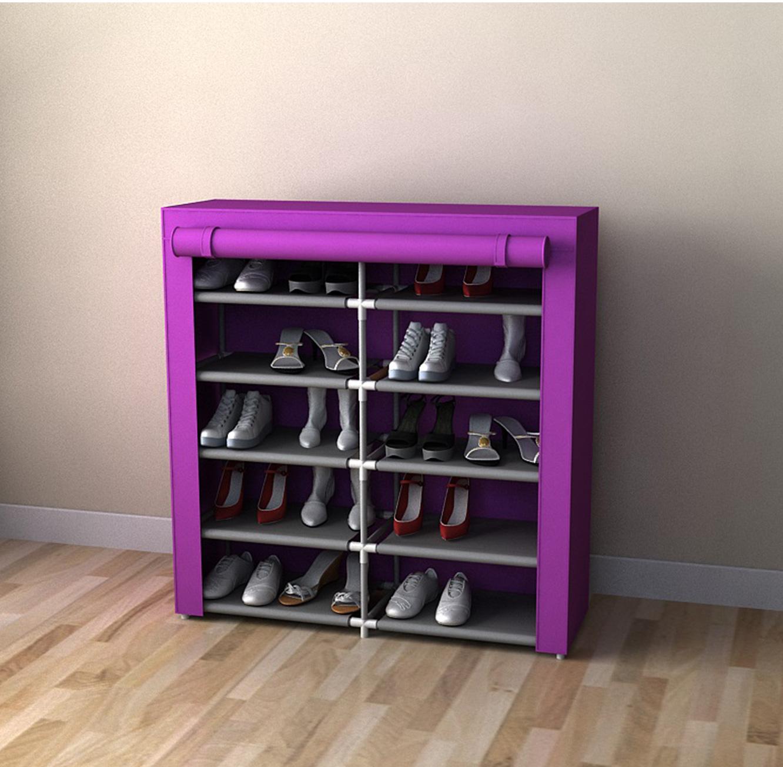 מעמד אחסון נעליים כפול בעל 10 קומות לאחסנה של עד 30 זוגות נעליים - תמונה 2