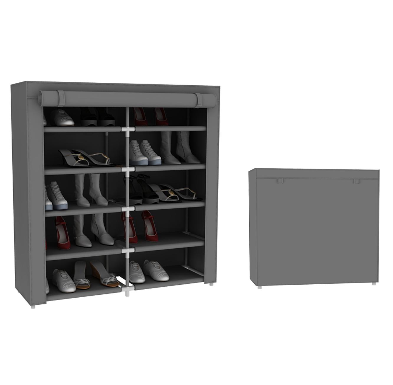 מעמד אחסון נעליים כפול בעל 10 קומות לאחסנה של עד 30 זוגות נעליים - תמונה 3