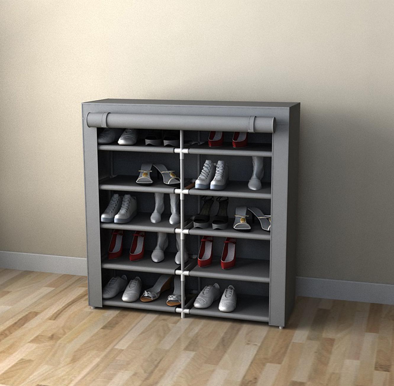 ארונית אחסון כפולה לנעליים 10 מדפי אחסון