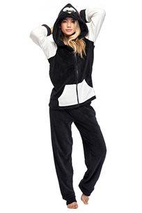 סט פיג'מת PILPEL לנשים דגם פינגווין בצבעי שחור לבן