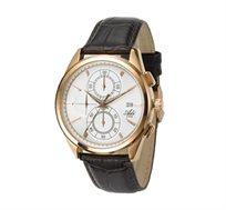 שעון יד לגבר ADI בעיצוב קלאסי מוזהב, עשוי פלדת אל חלד מוזהבת בשילוב רצועת עור אמיתי