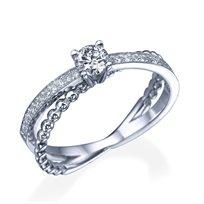 """טבעת יהלומים """"סקיי"""" 0.50 קראט מזהב לבן"""