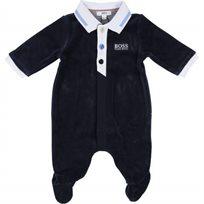 BOSS בוס אוברול קטיפה (9-1 חודשים) - כחול נייבי