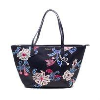Desigual Bols Orangina Capri Zipper - תיק טרפז בצבע כחול ככה עם רקמת פרחים