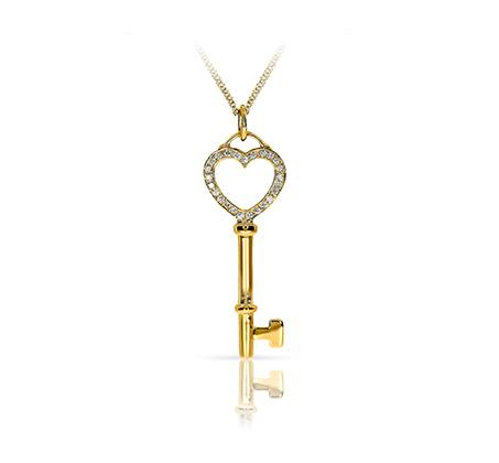 תליון בצורת מפתח משובץ 25 יהלומים