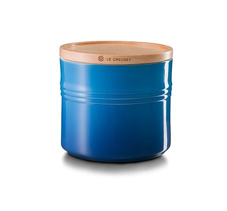 צנצנת עם מכסה עץ לאחסון בנפח 1.5 ליטר מקרמיקה במגוון צבעים לבחירה LE CREUSET - משלוח חינם - תמונה 3