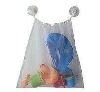 סל רשת צעצועים לאמבטיה, חזק ומונע עובש עשוי פוליאסטר, לתלייה באמצעות וואקום