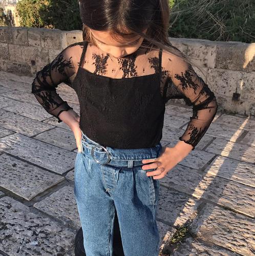 Oro חולצת תחרה (8-2 שנים) - שחור