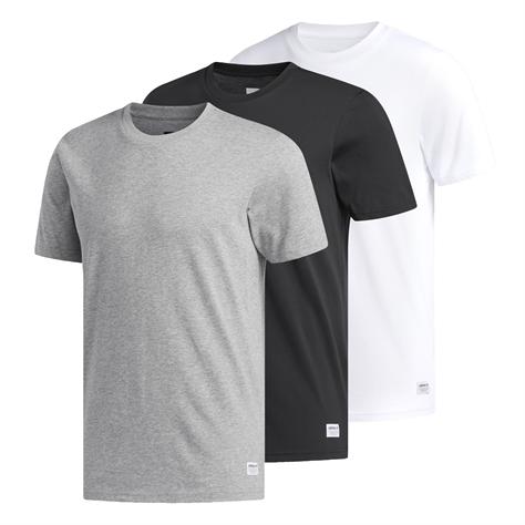 Adidas גברים\\ 3 טי שירט שחור, לבן, אפור