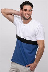 חולצת  פיקה-לייקרה קולור בלוק בשילוב כפתרה