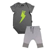 Minene  בגד גוף ומכנס (24-3 חודשים) - אפור כיתוב ירוק