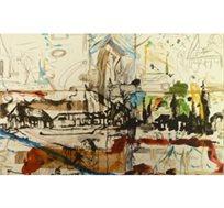 """""""סצנה פריזאית"""" - ציורו של גרבוז יאיר, הדפס על דיקט בחתימה אישית בגודל 77X49 ס""""מ"""