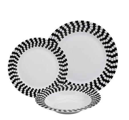 סט 18 צלחות לקיטשן מפורצלן בשחור לבן ל-6 סועדים דגם עדן
