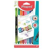 מארז הכולל 8 עטים צבעוניים בעלי ראש לבד בעובי 0.4 MAPED