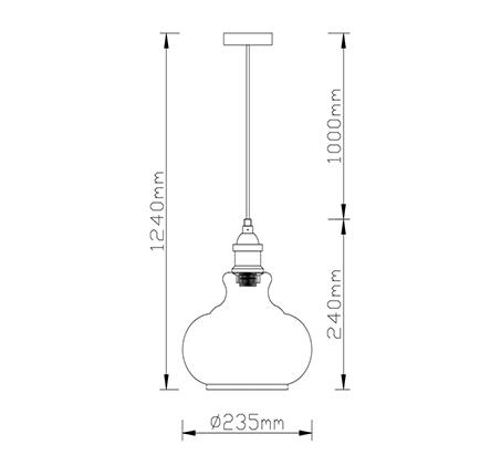 מנורת תליה פעמון שון ביתילי עשויה זכוכית בגוון קוניאק המתאימה לכל סוגי הנורות - משלוח חינם - תמונה 3