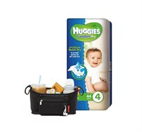 מארז 5 חבילות Huggies Freedom Dry וארגונית לעגלה של SKIP HOP