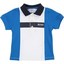 BOSS בוס פולו (3 חודשים- 3 שנים)-לבן שרוולים כחולים