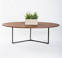 שולחן עץ אליפסה לסלון בעיצוב מודרני ועכשווי