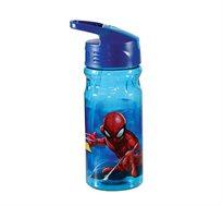 """2 בקבוקי שתיה דגם ספיידרמן + מדבקת שם 600 מ""""ל במגוון דוגמאות קל גב"""