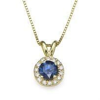 תליון יהלום ואבני ספיר 0.60 קראט על שרשרת זהב