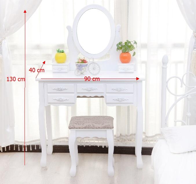 מודרני שידת איפור גדולה מעוצבת בסגנון פרובנס, הכוללת כיסא תואם, מראה ו-7 UG-55