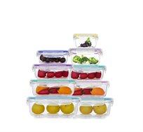 סט 9 קופסאות זכוכית מחוסמת גדלים שונים Food Appeal בטוחות לשימוש במיקרוגל