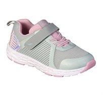 נעלי ספורט לבנות דגם סטאן שרוך בצבע אפור/ורוד