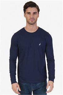 חולצה לגבר עם שרוולים ארוכים ולוגו קטן NAUTICA דגם V837044NV בצבע כחול נייבי