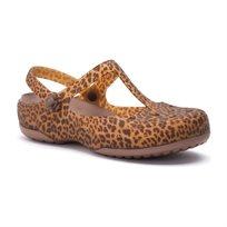 Crocs Carlie Animal Wave - כפכף נשים סגור בהדפס מנומר